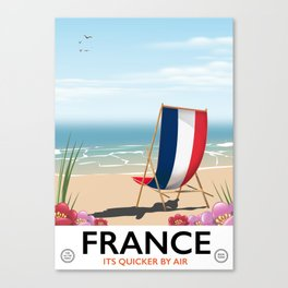 France seaside poster Canvas Print