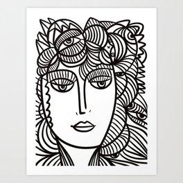 La Femme Fleur Black and White Line Art Portrait by Emmanuel Signorino  Art Print