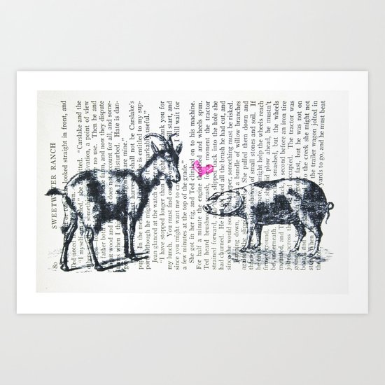 Goat Pig Love Art Print