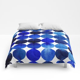 Blue Circles in Watercolor Comforters