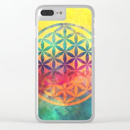 Rainbow Flower Of Life Clear iPhone Case