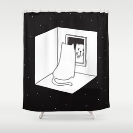 Schrödinger's cat Shower Curtain