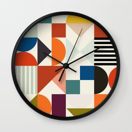 mid century retro shapes geometric Wall Clock