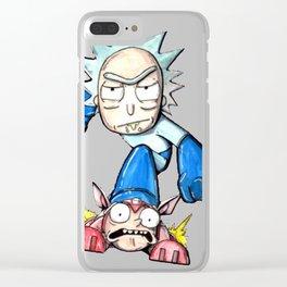 Mega Rick T-Shirt Clear iPhone Case