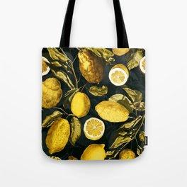Lemon and Leaf Pattern V Tote Bag