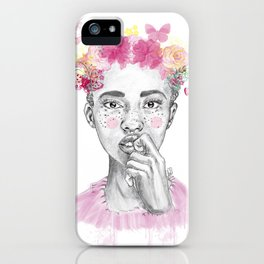 Girl and butterfly iPhone Case