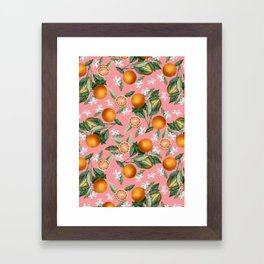 Lemon and Leaf Pattern V Framed Art Print