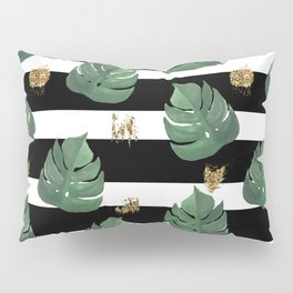 Tropical leaves pattern on stripes background Pillow Sham