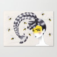 bee Canvas Prints featuring Bee by Elena Mir