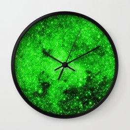 galaxy Stars 3 Bright Green Wall Clock