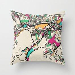 Colorful City Maps: Caracas, Venezuela Throw Pillow
