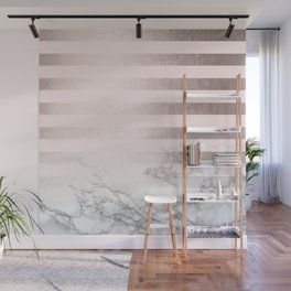 Rose Gold Pink Stripes and Marble Design Wall Mural