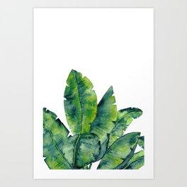 Tropical Plant Leaves in Watercolor, Tropical Leaves Print in Green Art Print