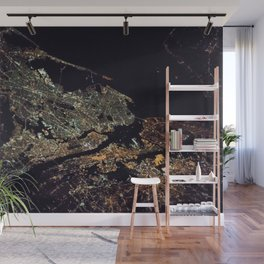 New York City - Manhattan, Brooklyn, New Jersey Satellite Night View Photograph Wall Mural