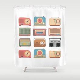Retro Radio Music Old School Vintage Gift Shower Curtain