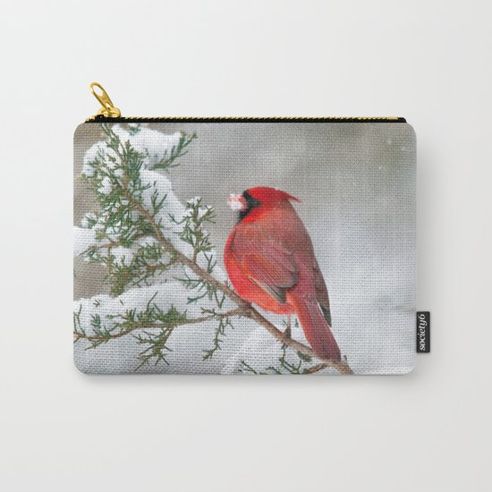 Snow on His Face (Northern Cardinal) Carry-All Pouch