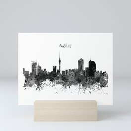 Auckland Black and White Watercolor Skyline Mini Art Print