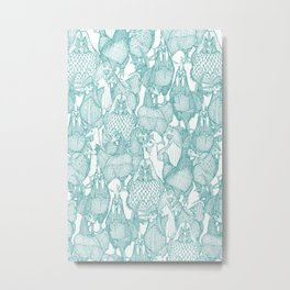 just chickens teal white Metal Print