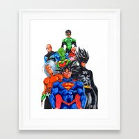 dbz Framed Art Prints featuring DBZ DC crossover by Unic art