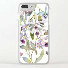 Cattleya Orchid White and Purple with Goldfish Muted Pallet Botanical Design Clear iPhone Case