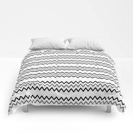 Abstract black white simple chevron zigzag geometric lines Comforters