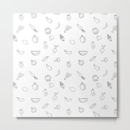 Vegetables and fruit black and white pattern Metal Print