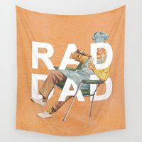 dad Wall Tapestries featuring Rad Dad by Heather Landis