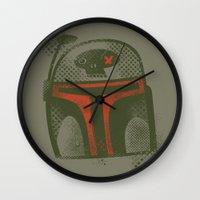 starwars Wall Clocks featuring STARWARS Boba by Tim Lee