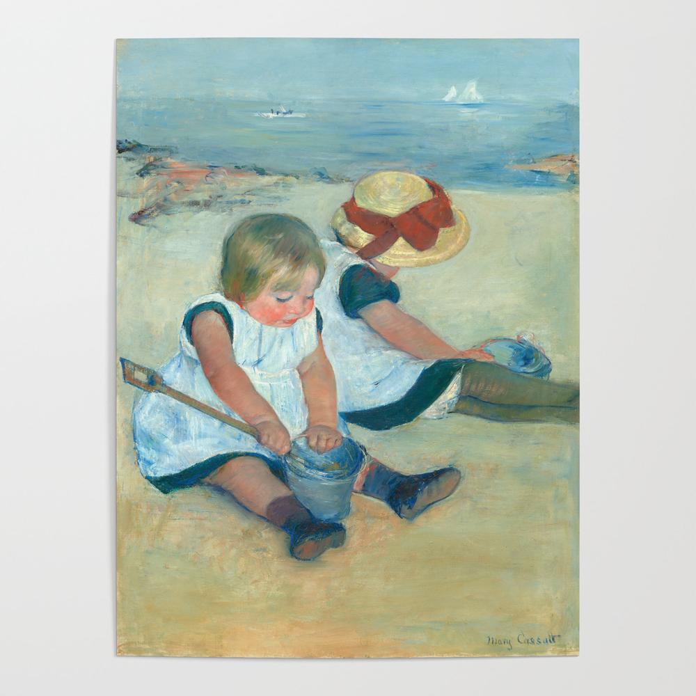 Mary Cassatt, Children Playing on the Beach Poster by fineearthprints