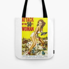Attack Of The 50 Foot Woman, vintage horror movie poster Tote Bag
