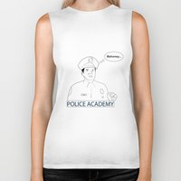police Biker Tanks featuring POLICE ACADEMY by sixteenart