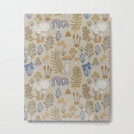 Wild Mushrooms in Blue Metal Print