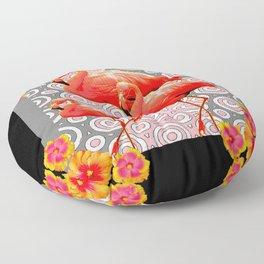 Black-Pink Art Deco Flamingo's Hibiscus Floral Art Floor Pillow