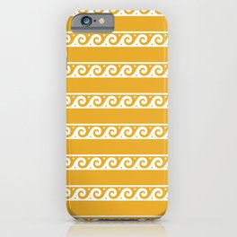 Orange and white Greek wave ornament pattern iPhone Case