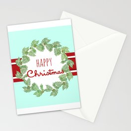 Happy Christmas striped holiday Stationery Cards