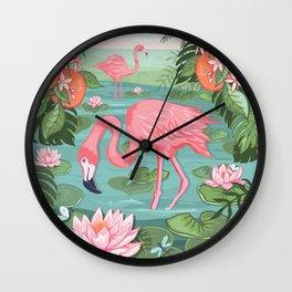 Flamingo and Waterlily Wall Clock