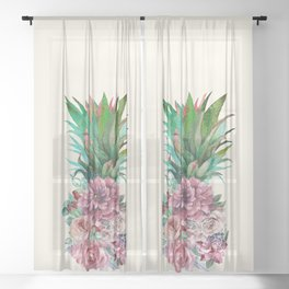 Floral Pineapple Sheer Curtain
