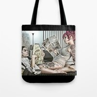 sex and the city Tote Bags featuring Casual Sex by Imustbedead