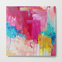 ELATED - Beautiful Bright Colorful Modern Abstract Painting Wild Rainbow Pastel Pink Color Metal Print