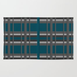 Striped turquoise and gray background 2 Rug