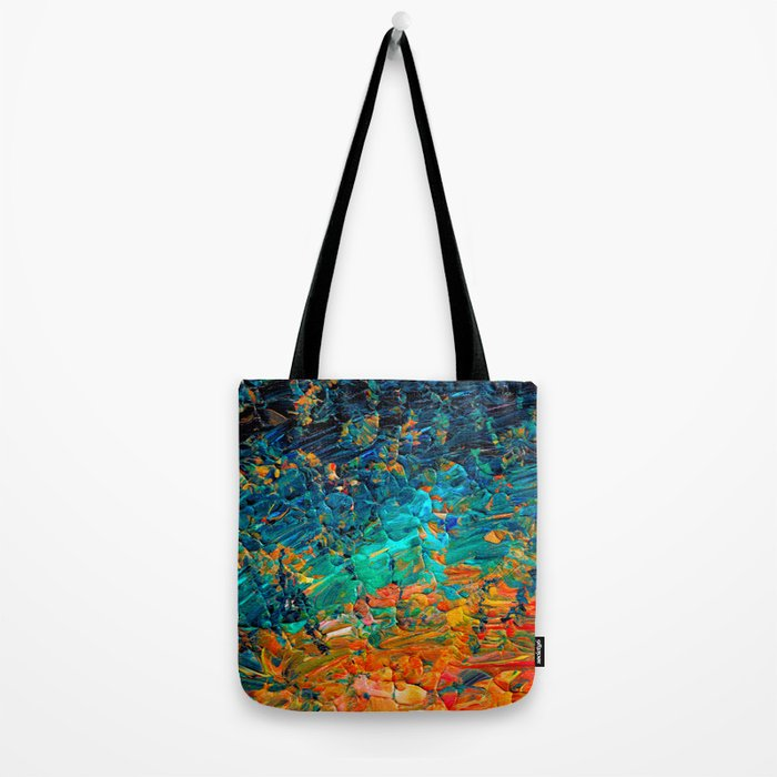 ETERNAL TIDE 2 Rainbow Ombre Ocean Waves Abstract Acrylic Painting Summer Colorful Beach Blue Orange Tote Bag