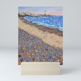 Seaside Popples with Lighthouse Mini Art Print