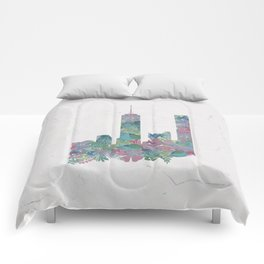 One World Trade Center Floral New York City Skyline Comforters