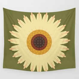 Sunflower on Green Wall Tapestry
