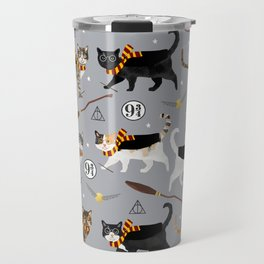 Cat wizard cats wizard school pattern Travel Mug