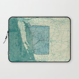 Connecticut State Map Blue Vintage Laptop Sleeve