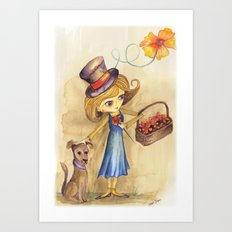 Flower Girl and her friend Art Print