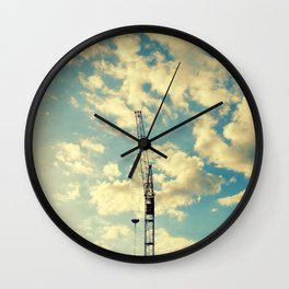 Building Crain In Clouds Wall Clock