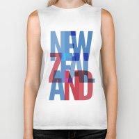 new zealand Biker Tanks featuring New Zealand by Feb Studios