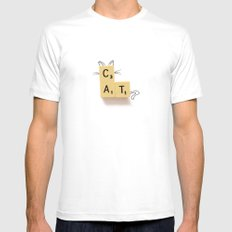 Cat Scrabble White MEDIUM Mens Fitted Tee